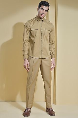Khaki Brown Shirt With Flap Pockets by Abkasa