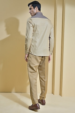 Beige Shirt With Cut & Sew Detailing by Abkasa