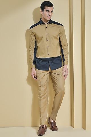 Khaki Brown Cut & Sew Panelled Shirt by Abkasa