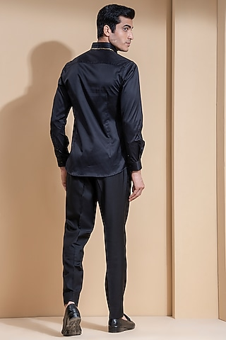 Black Shirt With Gold Chain Detailing by Abkasa
