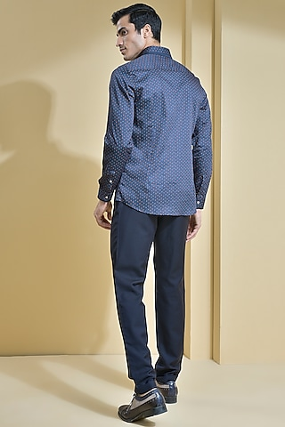 Blue Shirt With Contrasting Buttons by Abkasa