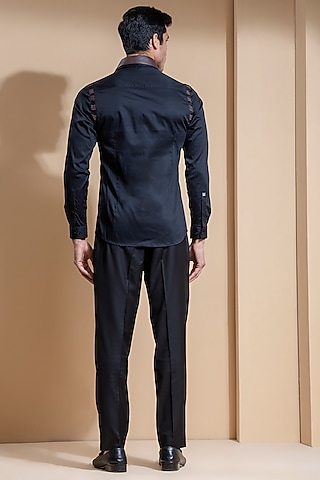 Black Shirt With Removable Collar by Abkasa