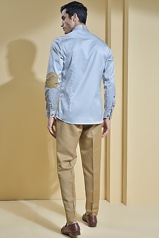 Grey Shirt With Contrasting Stitch Detailing by Abkasa
