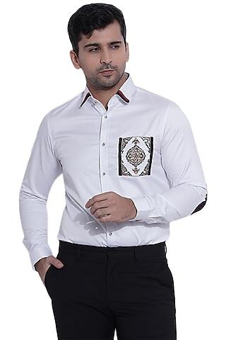 White Hand Embroidered Shirt by Abkasa