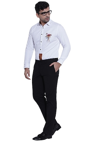 White Embroidered Shirt by Abkasa
