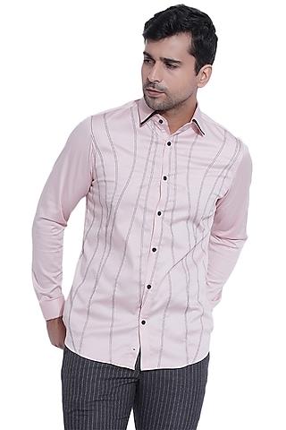 Powder Pink Shirt With Double Stitching by Abkasa