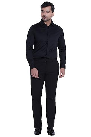 Black Shirt With Front Pleats by Abkasa