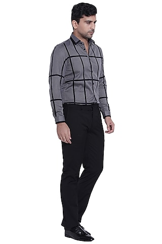 Dark Grey Appliques Shirt by Abkasa