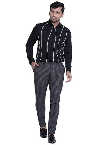 Black Shirt With Cut & Sew Detailing by Abkasa