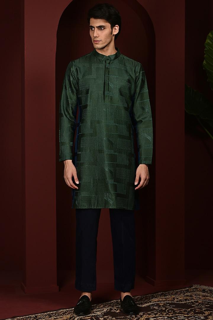 Green Embroidered Kurta Set by Abkasa