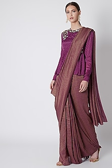 Purple Pre-Stitched Embroidered Saree Set by Abstract by Megha Jain Madaan