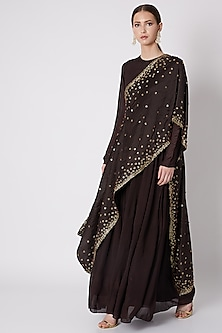 Brown Embroidered Gown With Draped Dupatta by Abstract by Megha Jain Madaan