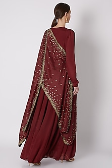 Maroon Embroidered Gown With Draped Dupatta by Abstract by Megha Jain Madaan