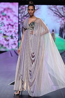 Lilac Sequins Embroidered Maxi Dress With Drape by Abstract by Megha Jain Madaan