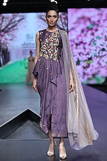 Lavender Embroidered Asymmetric Dress With Drape by Abstract by Megha Jain Madaan