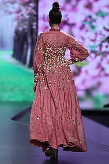 Pink Embroidered Maxi Dress by Abstract by Megha Jain Madaan