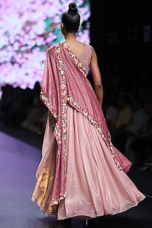 Pink Embroidered Dress With Attached Dupatta by Abstract by Megha Jain Madaan