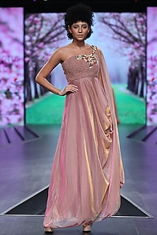 Pink Embroidered Dress With Drape by Abstract by Megha Jain Madaan