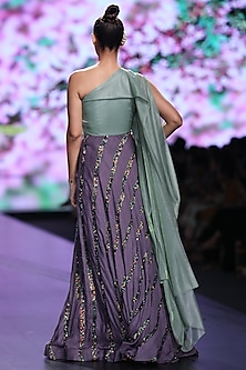 Green & Laveander Embroidered Dress With Drape by Abstract by Megha Jain Madaan