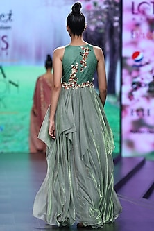 Green Embroidered Maxi Dress by Abstract by Megha Jain Madaan