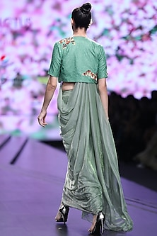 Green Embroidered Jacket With Jogger Pants & Drape by Abstract by Megha Jain Madaan