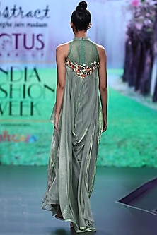 Green Embroidered Drape Dress by Abstract by Megha Jain Madaan