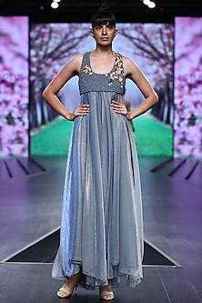 Powder Blue Dress With Embroidered Top by Abstract by Megha Jain Madaan