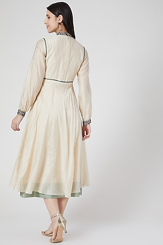 Beige Hand Embroidered Circular Dress by Abstract By Megha Jain Madaan