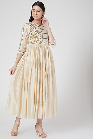 Beige Hand Embroidered Flared Dress by Abstract By Megha Jain Madaan