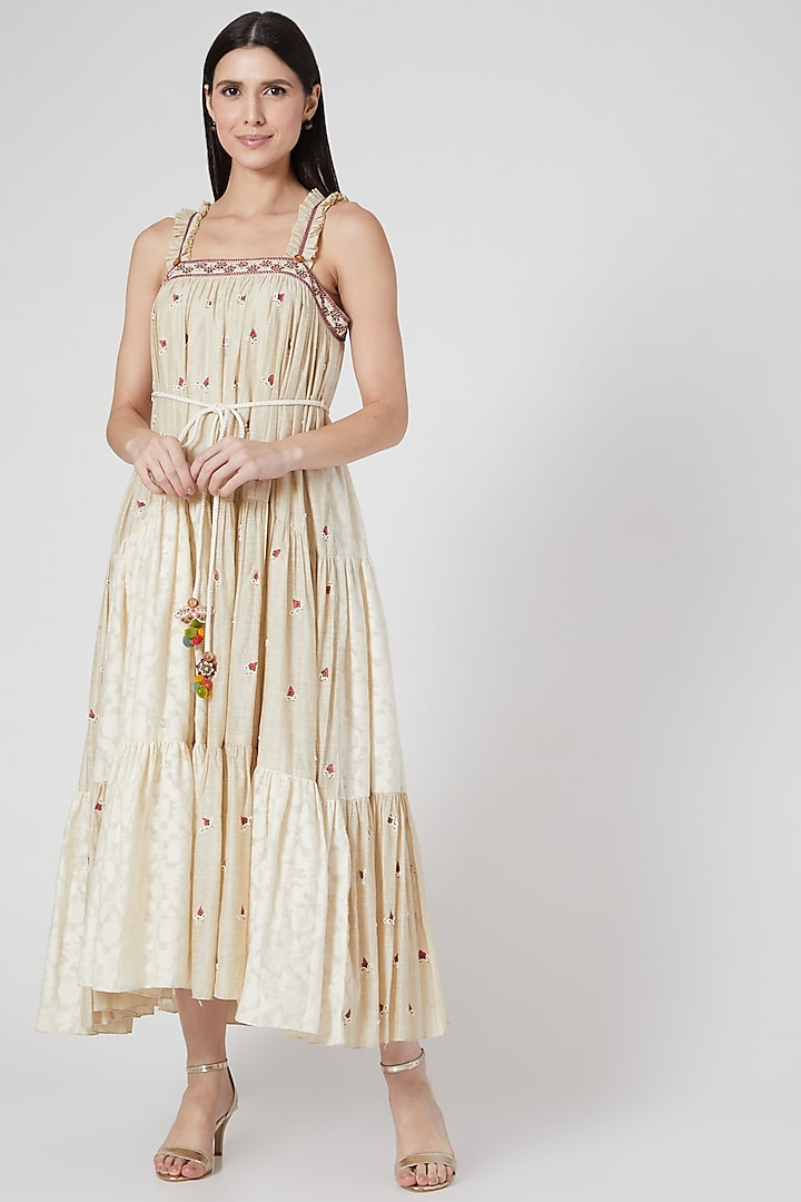 Beige Hand Embroidered Tiered Dress by Abstract By Megha Jain Madaan