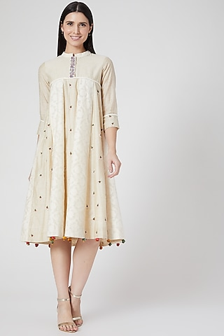 Beige Hand Embroidered Paneled Dress by Abstract By Megha Jain Madaan