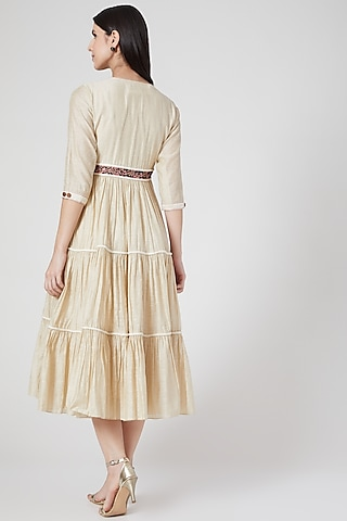Beige Hand Embroidered Dress by Abstract By Megha Jain Madaan