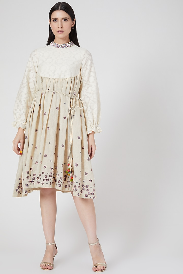 Beige Hand Embroidered Dress With Tassels by Abstract By Megha Jain Madaan