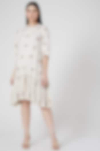 White Hand Embroidered Gathered & Palened Dress by Abstract By Megha Jain Madaan
