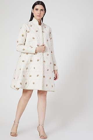White Embroidered Quilted Jacket by Abstract By Megha Jain Madaan