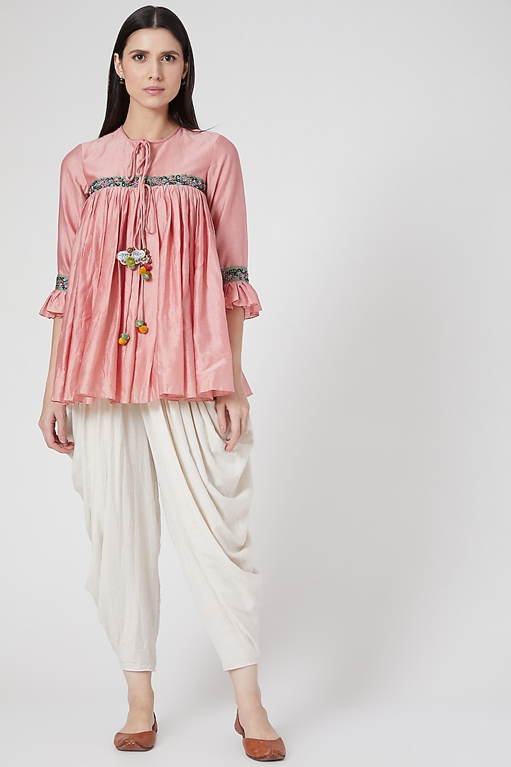 Pink Hand Embroidered Tent Top by Abstract By Megha Jain Madaan