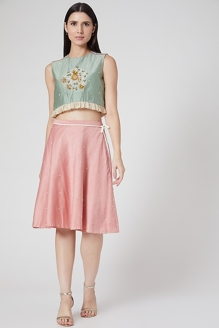 Mint Green Hand Embroidered Crop Top by Abstract By Megha Jain Madaan