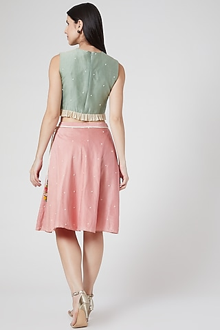 Pink Embroidered Circular Skirt by Abstract By Megha Jain Madaan