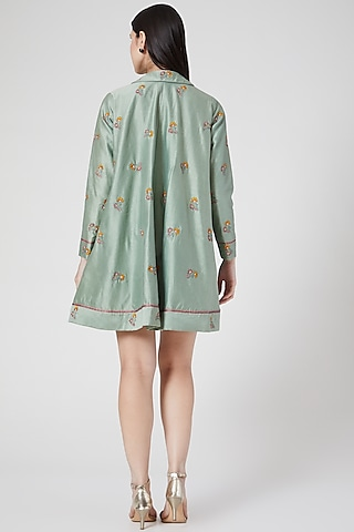 Mint Green Hand Embroidered Cape Jacket by Abstract By Megha Jain Madaan