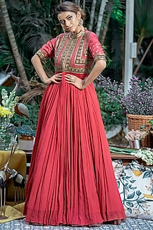 Raspberry Embellished Anarkali by Abstract By Megha Jain Madaan-ABSTRACT BY MEGHA JAIN MADAAN