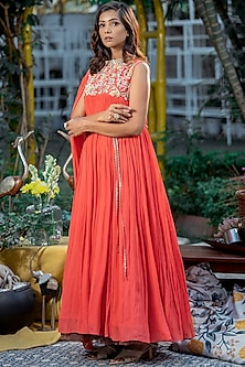 Coral Embellished Gown by Abstract By Megha Jain Madaan-ABSTRACT BY MEGHA JAIN MADAAN