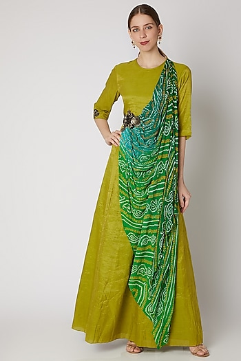 Green Embroidered Draped Maxi Dress by Abstract by Megha Jain Madaan