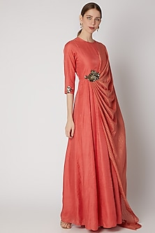 Coral Embroidered Draped Maxi Dress by Abstract By Megha Jain