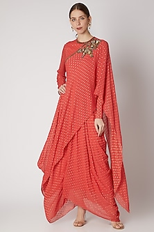 Coral Embroidered Draped Dress by Abstract By Megha Jain