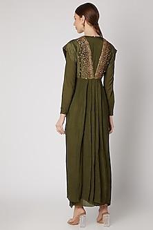 Green Embroidered Maxi Dress by Abstract By Megha Jain
