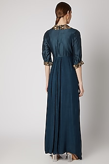 Dark Blue Embroidered Draped Dress by Abstract By Megha Jain