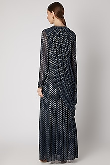 Dark Blue Embroidered Draped Maxi Dress by Abstract By Megha Jain