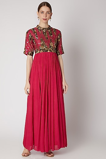 Pink Embellished Maxi Dress by Abstract by Megha Jain Madaan