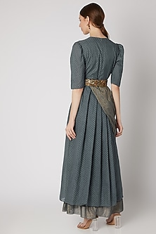 Grey Embroidered Draped Dress With Belt by Abstract By Megha Jain