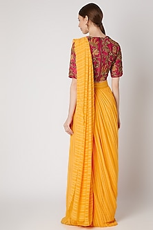 Yellow Embroidered Pre-stitched Saree Set by Abstract by Megha Jain Madaan